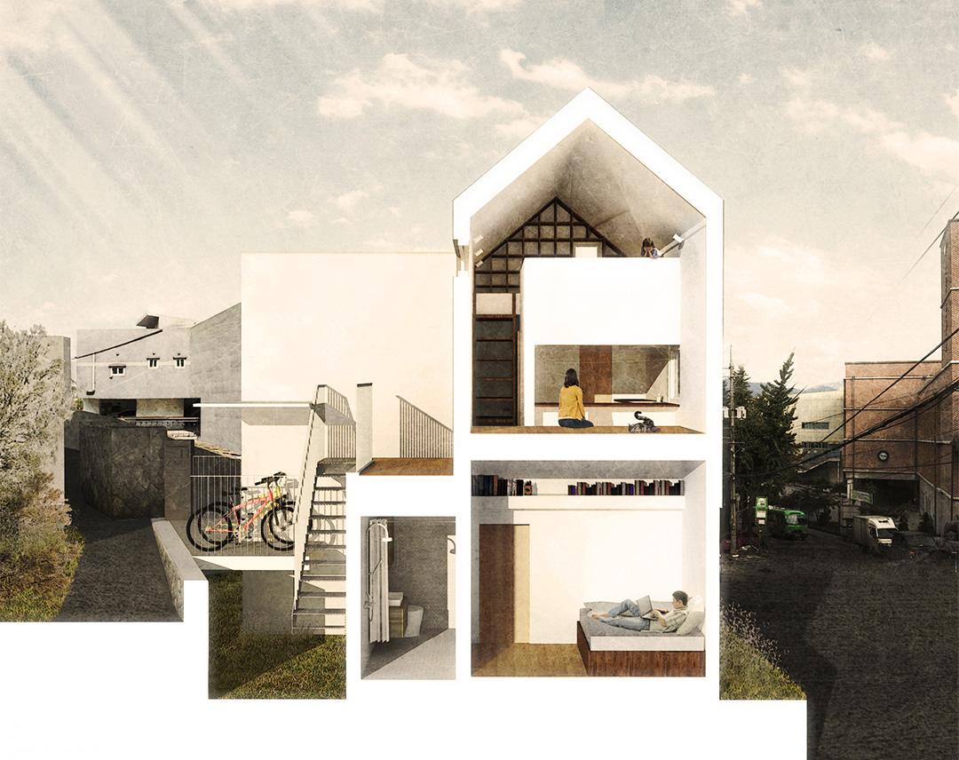 Corte longitudinal de la casa con escalera de gatos y loft para gatos de los arquitectos OBBA