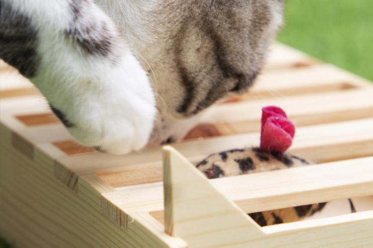 Kitty Flipper de The-Cat-Design juego para gatos hecho a mano de madera con gato jugando
