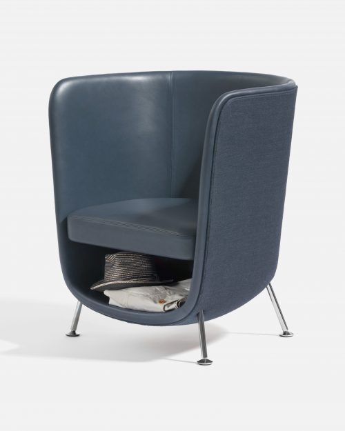 Sessel Pocket Chair in grau Leder