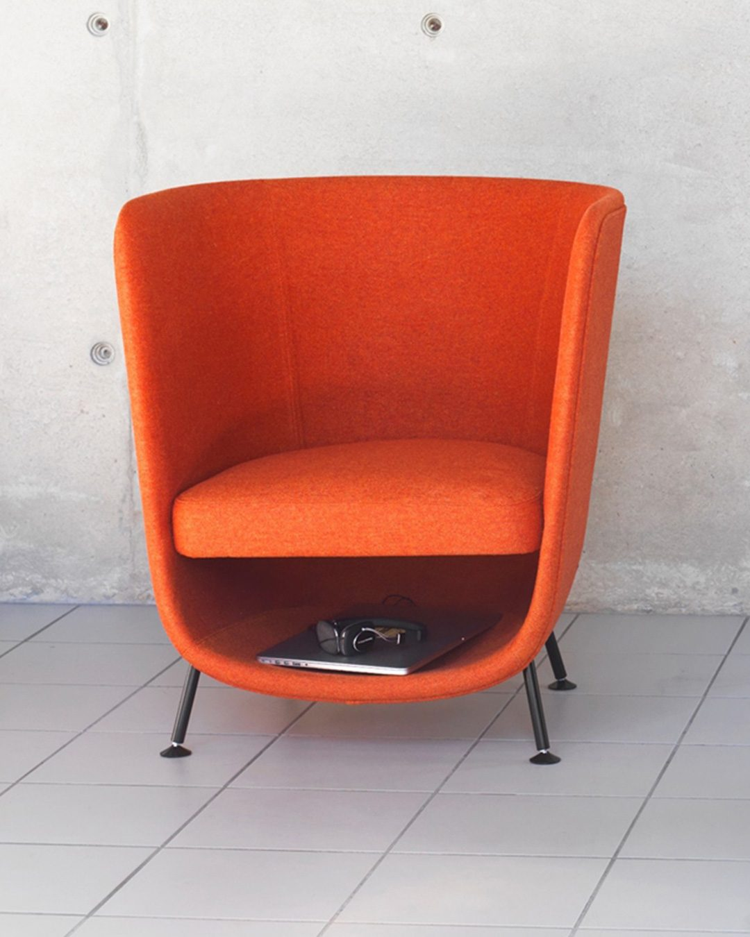 Pocket chair in orange, design furniture for cats and humans with place to cocoon
