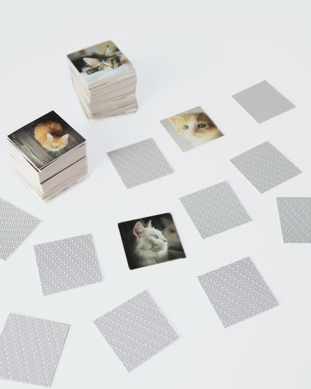 remember cats memory game, cards with cat fotos on a table